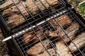 Chunks of pork cooked on the brazier — Stock Photo