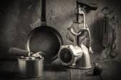 Obsolete kitchenware. Vintage toned photo — Stock Photo