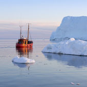 Nature and landscapes of Greenland. Travel on the scientific vessel among ices. Studying of a phenomenon of global warming. Ices and icebergs of unusual forms and colors. — Stock Photo