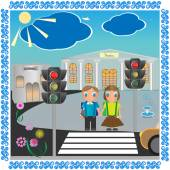 Niño y niña de la escuela — Vector de stock