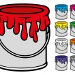 Buckets of paint collection — Stock Vector #55589457