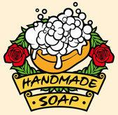 Natural handmade soap label — Stock Vector