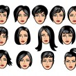 Set of black hair styling for woman — Stock Vector #66400951