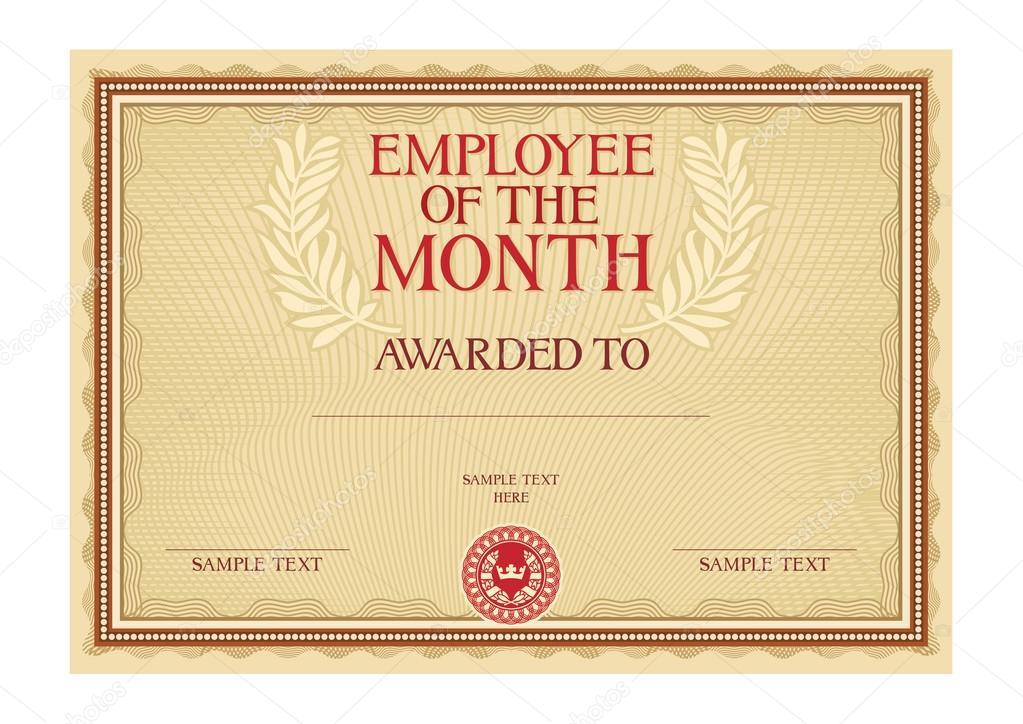 Mitarbeiter Des Monats Zertifikat Stockvektor 76947695