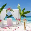 Wedding arch - tent - decorated with flowers on beach, tropical — Stock Photo #55275075