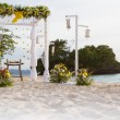 Wedding arch - tent - decorated with flowers on beach, tropical  — Stock Photo #55275135