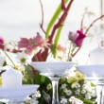 Romantic table setup on tropical beach — Stock Photo #55275161