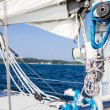 Постер, плакат: Winch with rope on sea yacht deck