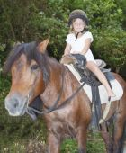 Young smiling child riding horse on natural background — Stock Photo