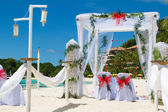 Wedding arch and set up on beach — Stock Photo
