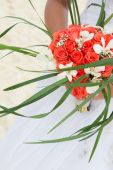 Beautiful bridal bouquet on natural background — Stock Photo