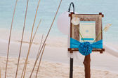 Wedding announcement on tropical sea and beach background — Foto Stock
