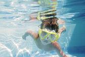 Young girl in googles underwater portrait — Photo