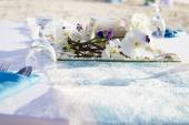 Table centerpiece with flowers on natural background — Stock Photo