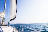 Sea yacht deck on tropical sea background — Stock Photo