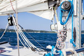 Winch with rope on sea yacht deck — Stock Photo