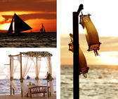 Suset sea set with wedding table, sail boats and paper laterns — Stock Photo