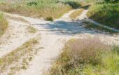 Crossing of several rural countryside dirty roads — Stock Photo