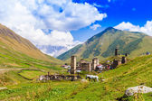 Ushguli, Upper Svaneti, Georgia, Europe. Caucasus mountains. — Stok fotoğraf
