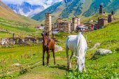 Ushguli, Upper Svaneti, Georgia, Europe. Caucasus mountains. — Stock Photo