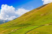 Beautiful view of alpine meadows. Upper Svaneti, Georgia, Europe — Stok fotoğraf