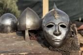 Close up of ancient metal helmet   — Stock Photo