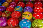 Decorated pot, painted rice cup, souvenir shop — Stock Photo