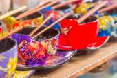 Decorated rice bowl, painted rice cup, souvenir shop — Stock Photo