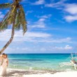 Young loving couple on beach background, wedding day, outdoor be — Stock Photo #70462811