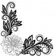 Monochrome black and white lace flower in the corner. With space for your text and greetings — Stock Vector