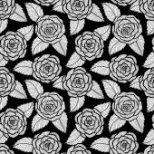 Beautiful seamless black and white pattern in roses and leaves lace. Hand-drawn contour lines and strokes. — Stock Vector