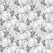 Beautiful black and white seamless pattern in alstroemeria with contours. — Stock Vector