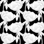 Krásné černobílé, černé a bílé bezešvé pozadí s květy rostlin paeonia arborea (pivoňky strom) se stonek a listy. — Stock vektor