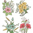 Vector flowers set. Colorful floral collection with leaves and flowers, Hand Draw Vintage . — Stock Vector #58698879