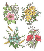 Vector flowers set. Colorful floral collection with leaves and flowers, Hand Draw Vintage . — Vetorial Stock