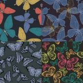 Set of Beautiful seamless background with butterflies vintage color. Hand-drawn contour lines and strokes. — 图库矢量图片