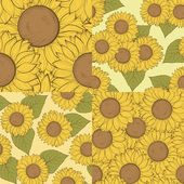 Set of beautiful seamless background with sunflowers. Hand-drawn contour lines and strokes. — Stockvector