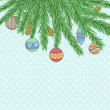 Christmas background with Christmas Balls Hanging on a Christmas tree branch — Stock Vector #59669753