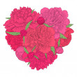 Beautiful heart decorated by flowers peony. Vintage template card, invitation, greetings, valentine. I love you. — Stock Vector #74912295