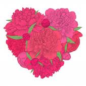 Beautiful heart decorated by flowers peony. Vintage template card, invitation, greetings, valentine. I love you. — Stock Vector