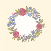 Beautiful greeting card of floral wreath. Hand-drawn background for greeting cards and invitations of the wedding, birthday, mother's Day and other holiday and cute summer background. — Stock Vector