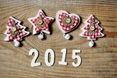 Christmas and new year 2015 decoration on wooden background — Foto de Stock