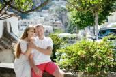 Caucasian smiling romantic couple in Positano, Italy - love concept — Stock Photo