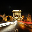 Chain Bridge at night with traffic light trails, Budapest, Hungary — Stock Photo #60890901