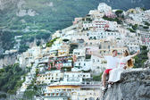 Happy couple after wedding in Positano, Italy — Stock Photo