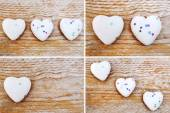 Hearts on wooden background - love concept — Stock Photo