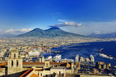 Naples and Vesuvius panoramic view, Napoli, Italy — Stock Photo