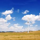 Wind generators turbine and sky with clouds - ecology energy saving concept — Stock Photo