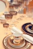 Set of fine bone porcelain dishware — Stock Photo