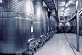 Stainless steel fermenters for wine, toned — Stock Photo